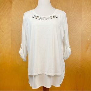 Westbound White Double Layer Long Sleeve Top 1X
